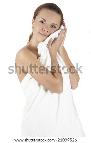 girl with a towel - stock photo