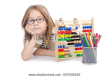 Girl with abacus on white - stock photo