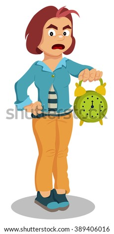 girl with an alarm clock in a hand - stock photo