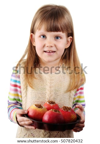 Girl with apples. Isolated on white background