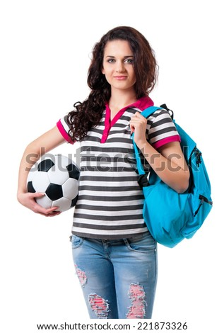 Girl with backpack - stock photo