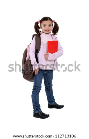 Girl with backpack and folder - stock photo