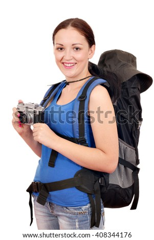 girl with backpack and old camera  - stock photo