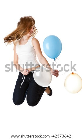 Girl with ballons. Isolated on white background