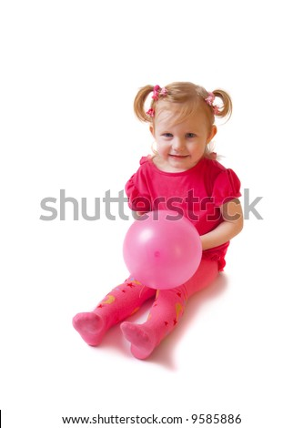 girl with balloon isolated on white