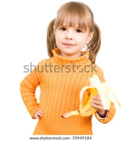girl with banana - stock photo
