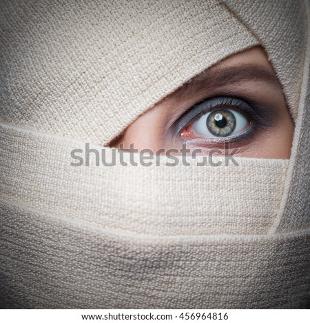 girl with bandaged face - stock photo