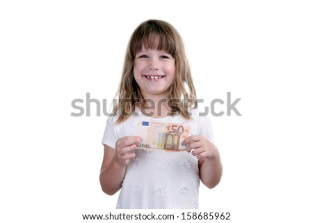 Girl with banknote in hands on a white background - stock photo