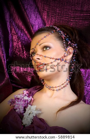 girl with beads - stock photo