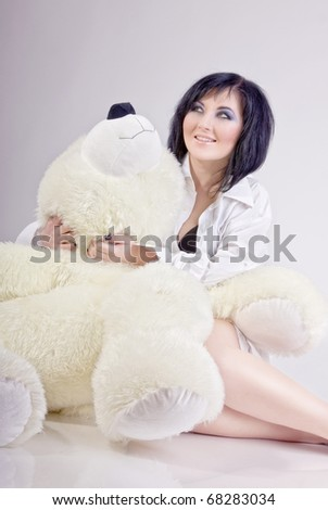 girl with bear - stock photo
