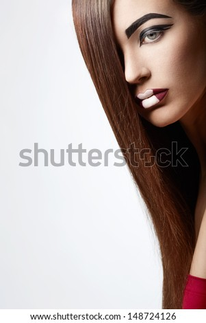 Girl with beautiful hair isolated