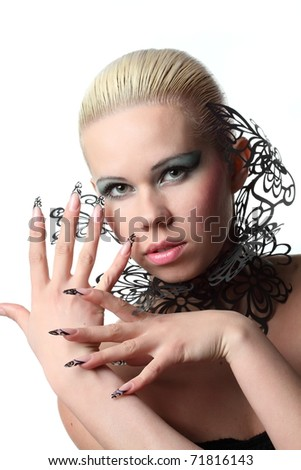 girl with beautiful nails and openwork lace