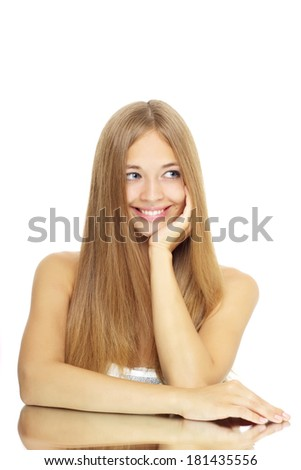 Girl with beautiful straight hair isolated on white - stock photo