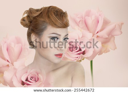 Girl with beautiful view Background with flowers Charming, attractive - stock photo