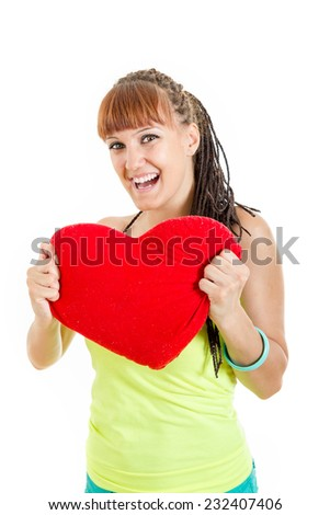 Girl with big heart smiling , Valentines day happiness of young woman in love showing great smile
