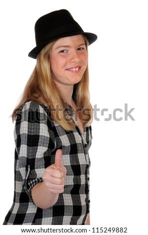 Girl with black hat in a studio shot - stock photo