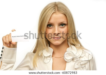Girl with blank  card - stock photo