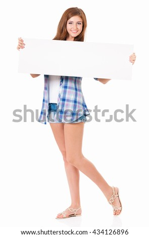 Girl with blank placard board, isolated on white background