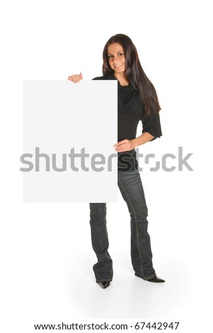 Girl with blank white sign - stock photo