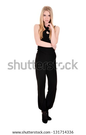 girl with blonde hair poses in black on a white background - stock photo