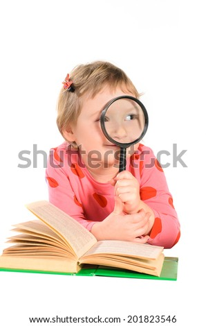girl with books and magnifying glass isolated on white background