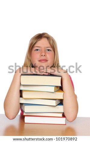 Girl with books in front of a white background - stock photo