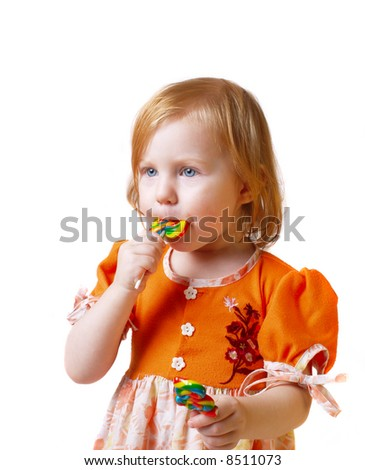 girl with candy isolated on white