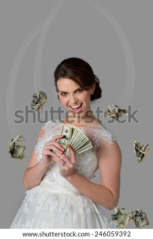 Girl with cash and room for your type. - stock photo