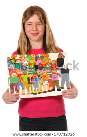 Girl with children paintings - stock photo