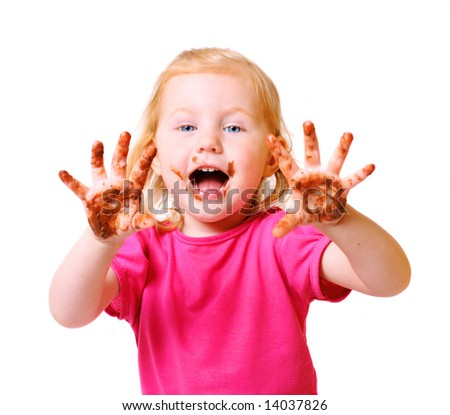 girl with chocolate isolated on white - stock photo
