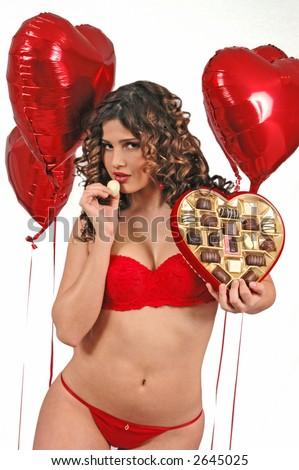 girl with chocolates in valentine's - stock photo