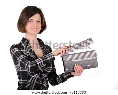 girl with clapboard, isolated on white