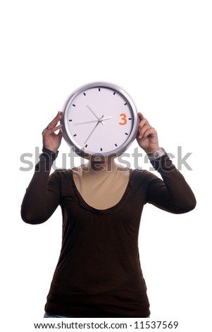 girl with clock over white background