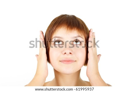 girl with closed ears on white