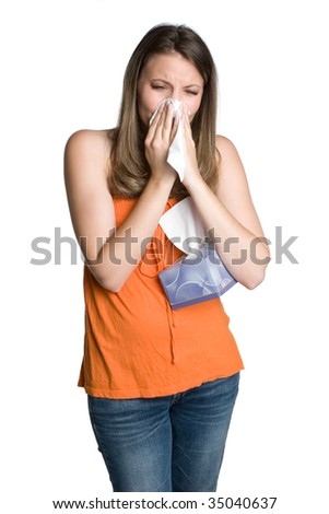 Girl With Cold - stock photo