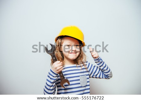 girl with construction tools