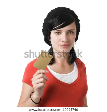 Girl with credit card - stock photo