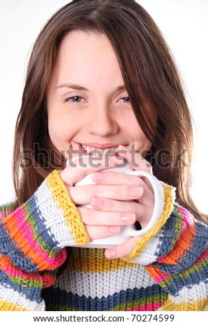Girl with cup of tea isolated on white