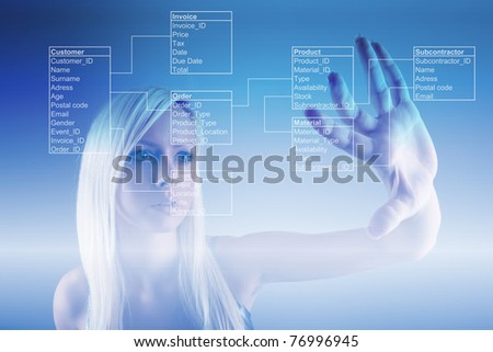 Girl with Database Tables - stock photo