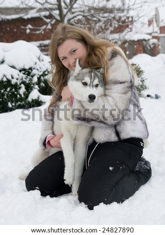 girl with dog - stock photo
