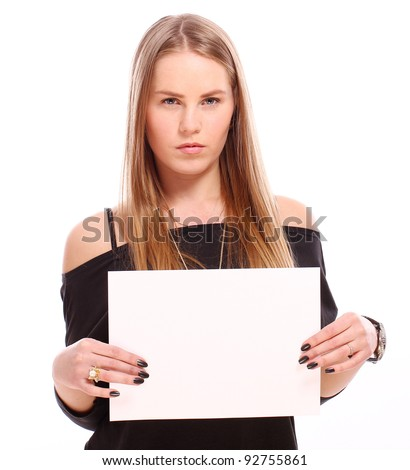 Girl with empty blank over white background