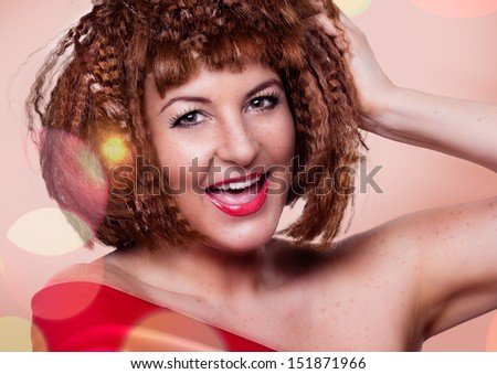 girl with fancy haircut portrait - stock photo