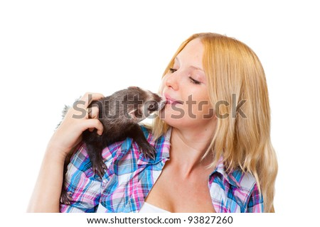 Girl with ferret isolated on white background