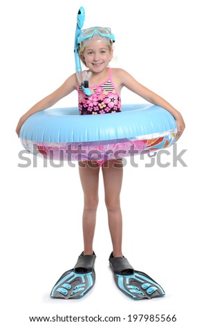 girl with float and scuba gear white background