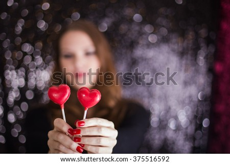 Girl with Focus on Hearts