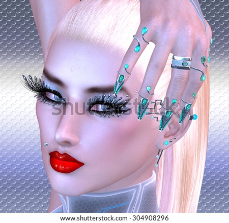 Girl with futuristic nails, eyelashes and make up. Blonde hair, red lipstick and a silver background complete this close up face shot. A modern digital art image. - stock photo