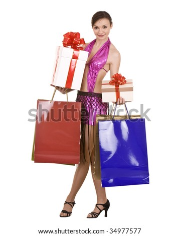 Girl with gift box and bow. Isolated.