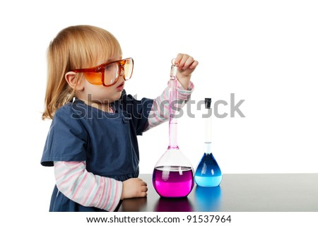 girl with glasses and flasks