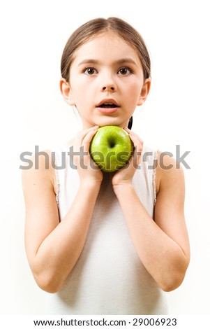 Girl with green apple - stock photo