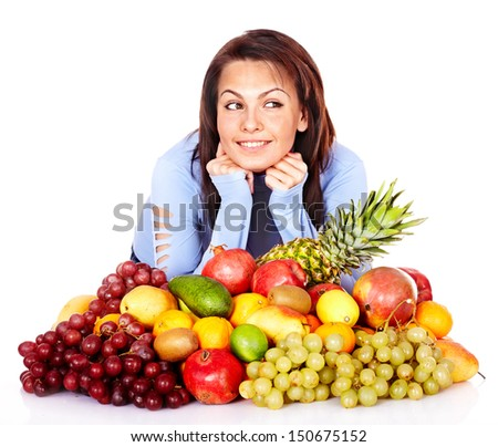 Girl with group of fruit and vegetables. Isolated.